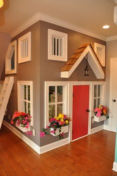 Indoor playhouse in basement. (for the kids' playroom in the loft! Arizona hot summers and scorpions suck for outdoor play structures. Awesome Bedrooms, Cool Rooms, Cool Bedroom Ideas, Awesome Beds, Totally Awesome, Build A Playhouse, Playhouse Ideas, Inside Playhouse, Kids Indoor Playhouse