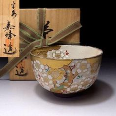 NO5-Japanese-Tea-Bowl-Kyo-Ware-by-1st-class-potter-Kaho-Ito-Cherry-Blossoms about 30 years ago.