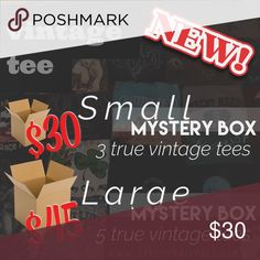 🔎📦 SMALL VINTAGE TEE MYSTERY BOX 📦🔍 small box includes: 3 vintage T-shirts from my collection (may not be something I currently have listed)  ••• 👚t-shirts will be👚••• • concert/band tees, biker/harley tees,college tees, souvenir tees, etc. •true vintage [at least 15yrs old] • good vintage condition [no stains, holes, etc.] • random sizes [sm, med, lrg, x-lrg]  ** YOU CAN REQUEST A CERTAIN SIZE(S) ** — #mysterybox #vintage #vtg #vintagetshirt #bandtee #harleydavidson #biker…