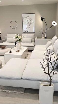 Decor Home Living Room, Living Room White, Living Room Modern, Interior Design Living Room, Living Room Designs, White Living Room Furniture, White Furniture, White Bedroom, Luxury Furniture