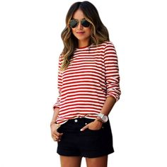 Stylish Ladies Women Casual Striped O-Neck Long Sleeve Pullover Top Blouse
