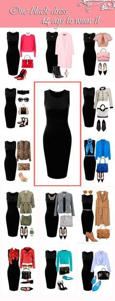14 ways to wear a black dress - great for your capsule or travel wardrobe! #womensfashion #womensfashionaccessories #outfitideas #capsulewardrobe #travelpacking #travelwardrobe #wardrobebasics #lbd #lbdoutfit Casual Black Dress Outfit, Black Office Dress, Black Work Dresses, Classic Black Dress, Black Dress Shoes, Casual Wear, Classy Dress, Black Dress Accessories, Plus Fashion
