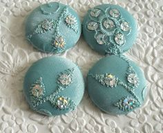 Pale aqua - 4 fabric covered buttons -  1.5 inches - size 60