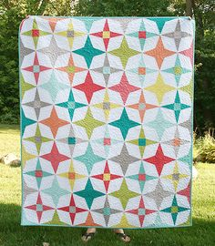 "Twilight Quilt | Fresh Lemons Quilts (pattern available in the May/June 2013 issue of Fons and Porter's Love of Quilting magazine. Quilt is 60"" x 72"" and the stars are paper pieced. All Free Spirit Designer solids including Winter White."