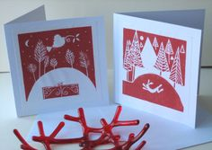 Set of two Handmade Linocut Christmas Cards - Winter Hare and Bird of Peace in Red . Christmas Cards 2018, Xmas Cards, Christmas Art, Christmas Decorations, Christmas Illustration, Tampons, Linocut Prints, Making Ideas, Screen Printing