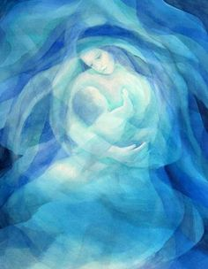 Mother and child prophetic art in blue. Blessed Mother Mary, Divine Mother, Art Prophétique, Art Couple, Mama Mary, Prophetic Art, Mary And Jesus, Madonna And Child, Sacred Art