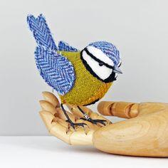 Tweed Fabric Bird Sculpture, handmade figurine BLUE TIT - Made to Order £56.50