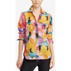 Lauren Ralph Lauren Petite Printed Long-Sleeve Shirt ($90) ❤ liked on Polyvore featuring tops, multi, petite tops, button up top, long sleeve shirts, petite long sleeve shirts and lauren ralph lauren tops