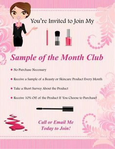 My sample of the month club starts 4-1-15.  Visit my website to send me a message to join the club: www.marykay.com/barbdyerdiagne