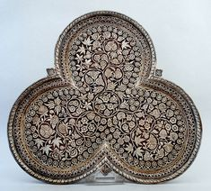 Wooden tray with in-lay handwork from Kashmir, India