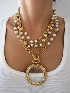 VINTAGE CHANEL PARIS BEST PEARL  DIAMANTE MULTI CHAIN JEWELED MEDALLION NECKLACE