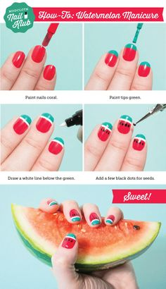 How 'sweet' is this watermelon manicure? Just follow these simple steps, and join the #nailklub!