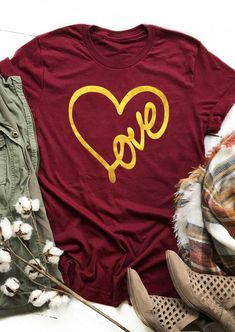 Valentine Love Heart T-Shirt Tee - Burgundy - Fairyseason Valentine Love, Valentines Day Shirts, Valentine Cupid, Home T Shirts, Tee Shirts, Graphic Shirts, Chen, T Shirt World, Valentine's Day Outfit