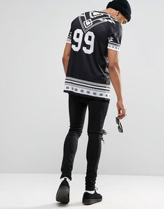 Image 4 ofASOS Longline T-Shirt With Monochrome Aztec And Number Back Print In Black