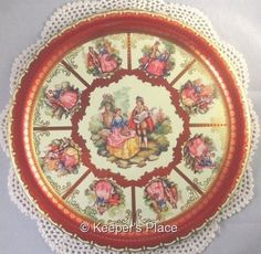 Vintage Courting Couple Ornate Red Gold Tin Serving Tray By Elite England