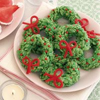 CHRISTMAS FOOD - Green icing color tints the marshmallow mixture that combines with the coconut and rice cereal for these festive holiday snacks. Unique Christmas Cookie Recipe, Christmas Cookies Kids, Cookies For Kids, Noel Christmas, Christmas Wreaths, Christmas Decor, Holiday Snacks, Christmas Snacks, Christmas Cooking