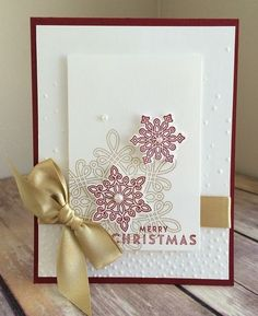 Gorgeous hand stamped Christmas card by Karen Trelfa using the Flurry of Wishes bundle by Stampin' Up!
