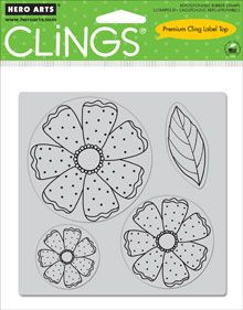 Hero Arts Three Dotted Flowers stamp | new from hero arts 2011 catalog hero arts clings are