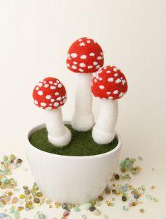 Mushrooms - Needle Felted Miniature