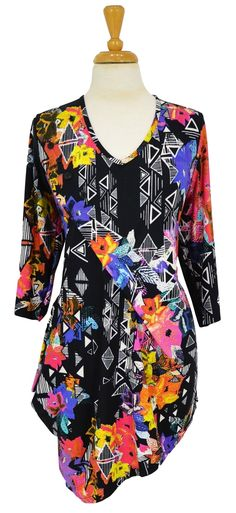 Multicoloured Floral Tunic~ Best selection of Tunics & matching accessories ~ Flat postage worldwide ~ Petite to Plus sizes ~ www.ilovetunics.com