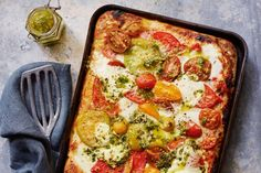 Take advantage of fresh, ripe tomatoes with this mouth-watering pizza, topped with gooey buffalo mozzarella and flavoursome pesto - and at under $4.50 per serve, it's easy on the budget, too!