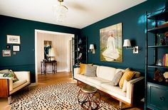 re upholster couch to a nice cream and place in teal room with pretty wood furniture --Benjamin Moore - Dark Harbor: small space with dark teal walls - it actually feels a lot bigger than it is! Teal Rooms, Teal Living Rooms, Colourful Living Room, Eclectic Living Room, Teal Walls, Home And Living, Living Room Designs, Living Room Decor, Green Walls