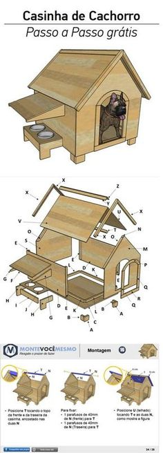 30 Ideas For Dogs House Casitas Pallet Dog House, Dog House Plans, Woodworking Plans, Woodworking Projects, Pallet Pictures, Dog Furniture, Pet Home, Animal House, Dog Houses
