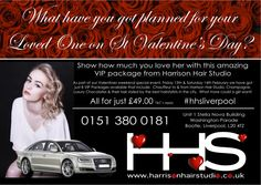 Valentine's VIP Package! Not to be missed! 0151 380 0181 www.harrisonhairstudio.co.uk #hhsliverpool #chauffeur #champagne #luxury #chocolates #VIP #hairsalon #hairdressers #Liverpool #Bootle