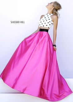 Polka Dot Crop Top with Fuchsia Satin Ball Gown Skirt - Love this 2-Piece Gown for Prom!