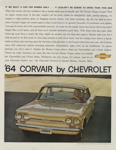 1964 Chevrolet Corvair Car for Women Vintage Chevy by AdVintageCom