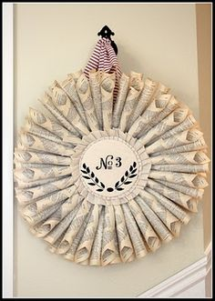 My Sweet Savannah: ~the most inspiring house and a one kings lane sale~wreath Wreath Crafts, Diy Wreath, Paper Wreaths, Christmas Wreaths, Christmas Crafts, Christmas Decorations, Christmas Things, Couronne Diy, Crafts To Make