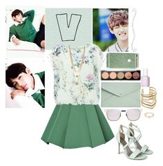 """""""Date with V Oppa"""" by glitterlovergurl ❤ liked on Polyvore featuring York Wallcoverings, Structured Green, Apricot, Boohoo, Vince Camuto, SunaharA, Westward Leaning, Danielle Nicole, Forever 21 and Essie"""