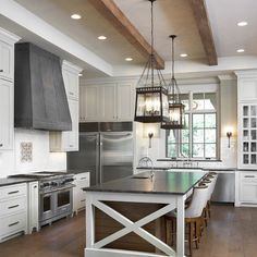 Beams in white kitchen