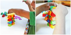 """Paper Building Blocks: """"Start positioning the triangles in a row alternating between triangles that are right side up and upside down. Add a plank or two on top of ..."""""""