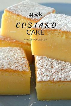 This Vanilla Magic Custard Cake is all kinds of amazing! This Vanilla Magic Custard Cake is all kinds of amazing! Magic Cake Recipes, Sweet Recipes, Sponge Cake Recipes, Magic Recipe, Custard Recipes, Baking Recipes, Custard Desserts, Vanilla Desserts, Amish Recipes