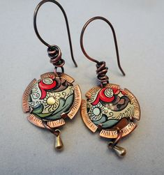Copper and vintage tin disk earrings with wire by ExtraMileDesigns, $38.00