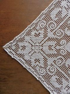 "Italian Filet Lace VintageTablecloth 56"" by 90"""