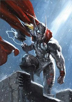 Thor by Gabriele Dell'Otto Poster Superman, Posters Batman, Poster Marvel, Marvel Comics Art, Comic Book Characters, Comic Book Heroes, Marvel Characters, Comic Character, Comic Books Art