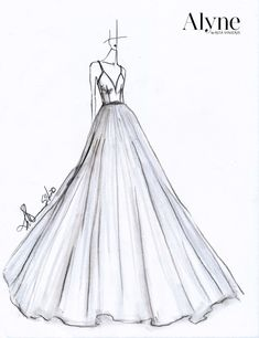 These Are the New Wedding Dresses Brides Everywhere Will Be Dying to Wear Dress Design Drawing, Dress Design Sketches, Dress Drawing, Fashion Design Drawings, Fashion Sketches, Dress Illustration, Fashion Illustration Dresses, Wedding Dress Sketches, Wedding Dresses