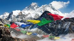 Prayer flags in Nepal - Trekking in the Himalayas Mount Everest Base Camp, Nepal Mount Everest, Create Your Own Adventure, Prayer Flags, Healing Meditation, Machu Picchu, Holiday Destinations, Tibet, Wonderful Places