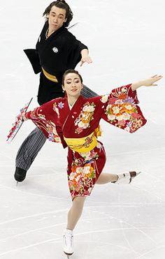 Skating in kimono inspired dress