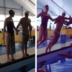 Allison Schmitt & Phelps during the last warmup session in London