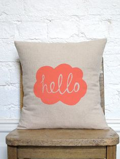 Hand Printed Hello Cushion Cover Peachy by hellomilky on Etsy
