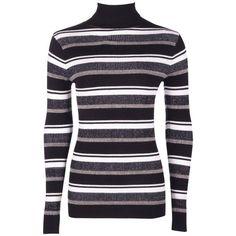 Boohoo Abigail Turtle Neck Stripe Rib Knit Jumper | Boohoo ($19) ❤ liked on Polyvore featuring tops, sweaters, striped turtleneck sweater, striped top, turtle neck top, stripe sweaters and rib knit turtleneck sweater