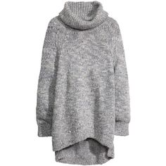 H&M Knitted polo-neck jumper (955 CZK) ❤ liked on Polyvore featuring tops, sweaters, dresses, jumpers, shirts, grey, shirt sweater, slit shirt, turtle neck shirt and grey jumper