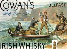 Retro Metal Wall Sign Tin Plaque Vintage Style Pub Bar Cowan's Irish Whisky Mens