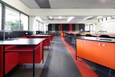 St Edmunds College Science Lab #interiordesign #interior #design #school #sciencelab #orange #red #colour