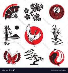 Simbolos Tattoo 85102 Vector design elements in Japanese style Japanese Drawings, Japanese Artwork, Japanese Tattoo Art, Japanese Prints, Japan Design, Vector Design, Design Art, Logo Design, Simbolos Tattoo
