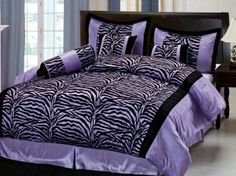 omg i want this bed and the sheets zebra and purple just my cup of tea love