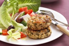 Eggplant, herb and fetta patties - Recipes By Katrina WoodmanPacked with feta, juicy eggplant and fragrant basil, these veggie rissoles are a taste sensation. 1 large cups fresh cup plain fetta, green on Vegetarian Lunch, Vegetarian Recipes, Cooking Recipes, Healthy Recipes, Savoury Recipes, Healthy Options, Healthy Meals, Eggplant Patties Recipe, Healthy Eggplant